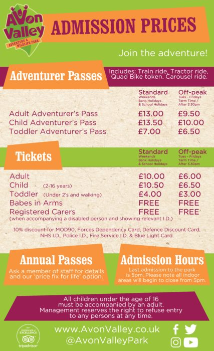 Admission Prices 2018 at Avon Valley