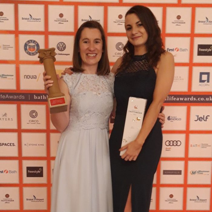 Marketing Manager Kim and Admissions Supervisor Charlotte collecting the award.